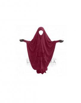 Jilbab à Clips 2 pièces Umm Hafsa Rouge Bordeaux