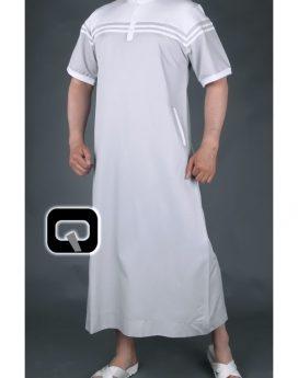 qamis qaba'il long navy gris blanc