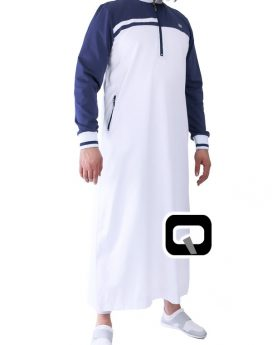 qamis qaba'il long classique Blanc et bleu
