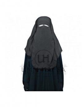 sitar niqab 3 voiles Umm Hafsa 95 cm gris