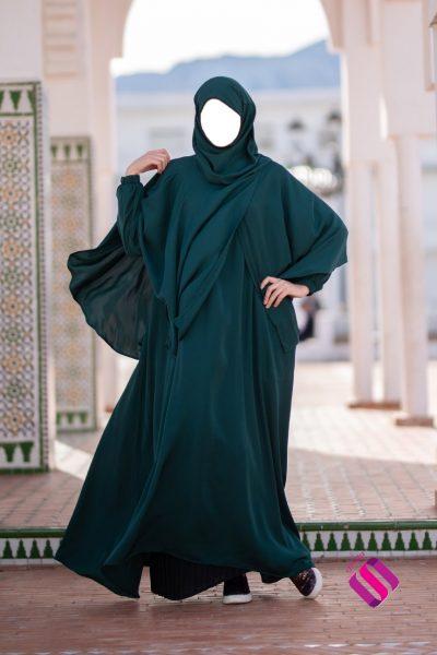 Cape hijab intégré vert sapin