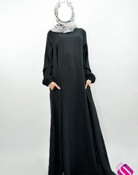 Abaya évasée à poches plissée Moultazimoun