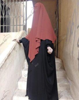 abaya Saoudienne Bint.a wool peach noir
