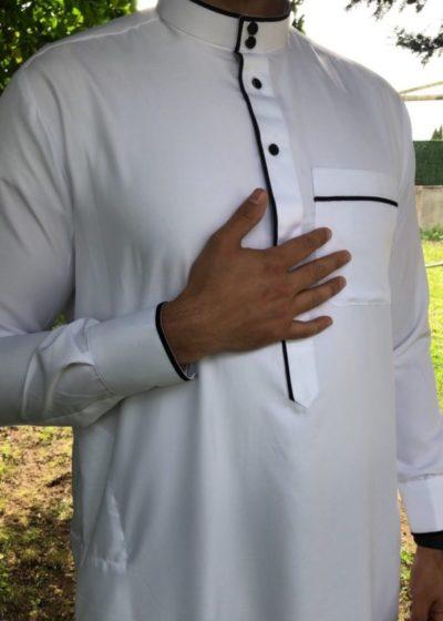 Qamis bicolore Blanc/noir tissu indonésien
