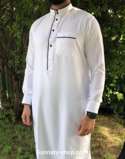 Qamis bicolore Blanc/noir tissu indonésien 2