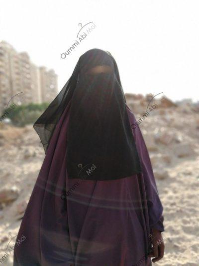 Niqab 3 voiles 1m50 Noir