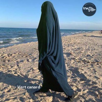 Jilbab sarwel 2 pièces Mouhajiroun manches et bandeau en élasthane