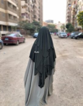 niqab kaki 3 voiles 1m50